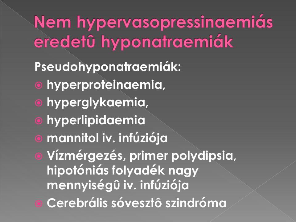 Pseudohyponatraemiák:  hyperproteinaemia,  hyperglykaemia,  hyperlipidaemia  mannitol iv. infúziója  Vízmérgezés, primer polydipsia, hipotóniás f