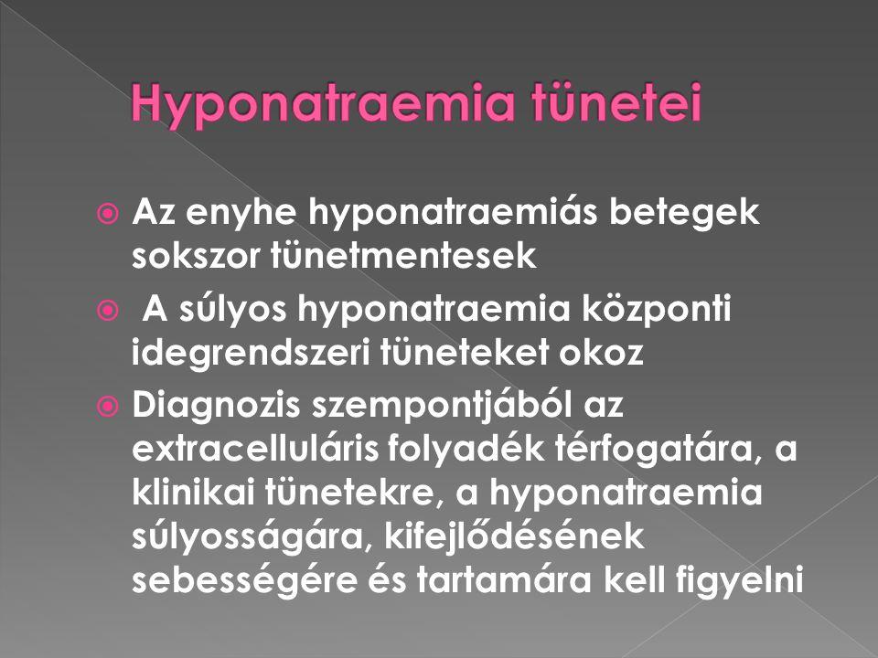  Az enyhe hyponatraemiás betegek sokszor tünetmentesek  A súlyos hyponatraemia központi idegrendszeri tüneteket okoz  Diagnozis szempontjából az ex