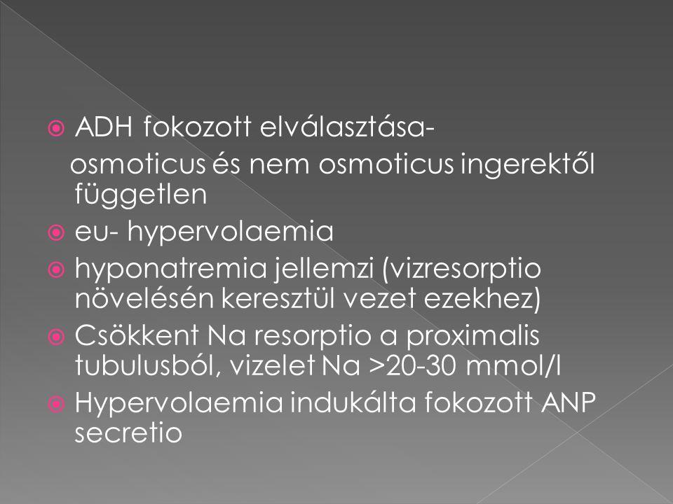  ADH fokozott elválasztása- osmoticus és nem osmoticus ingerektől független  eu- hypervolaemia  hyponatremia jellemzi (vizresorptio növelésén keres