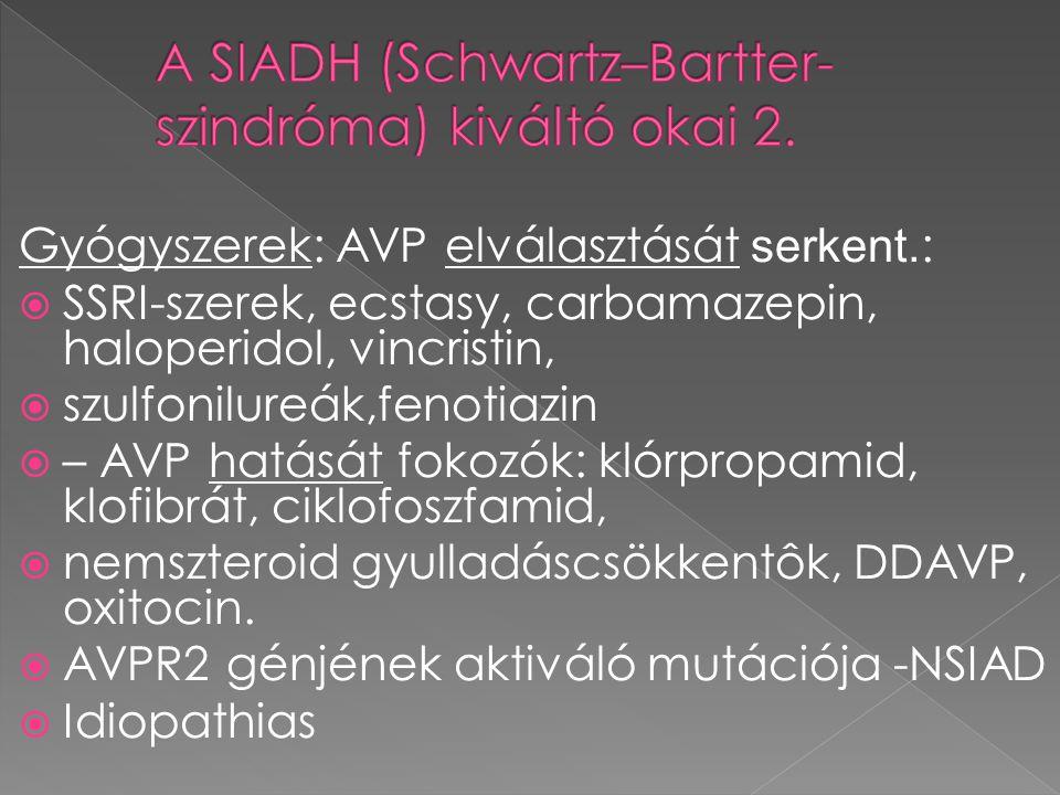 Gyógyszerek: AVP elválasztását serkent. :  SSRI-szerek, ecstasy, carbamazepin, haloperidol, vincristin,  szulfonilureák,fenotiazin  – AVP hatását f