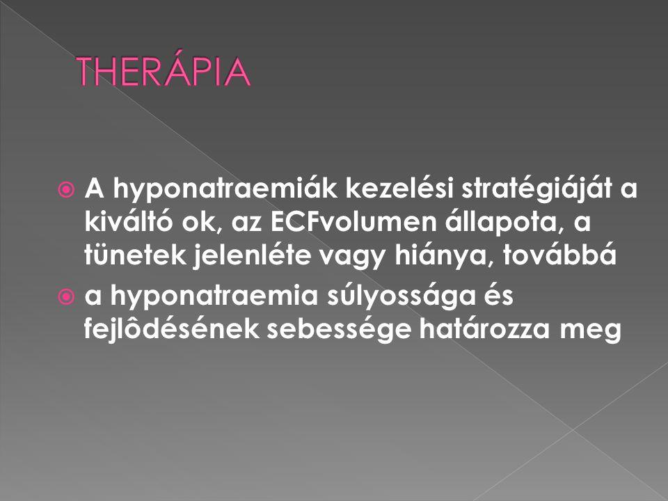  A hyponatraemiák kezelési stratégiáját a kiváltó ok, az ECFvolumen állapota, a tünetek jelenléte vagy hiánya, továbbá  a hyponatraemia súlyossága é