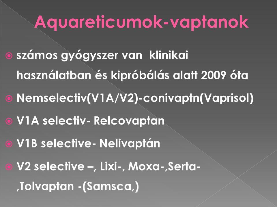  számos gyógyszer van klinikai használatban és kipróbálás alatt 2009 óta  Nemselectiv(V1A/V2)-conivaptn(Vaprisol)  V1A selectiv- Relcovaptan  V1B