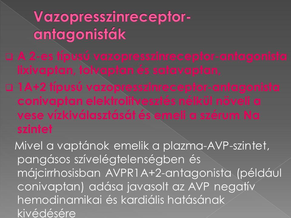  A 2-es típusú vazopresszinreceptor-antagonista lixivaptan, tolvaptan és satavaptan,  1A+2 típusú vazopresszinreceptor-antagonista conivaptan elektr