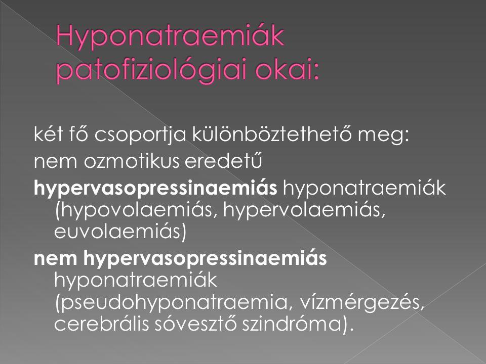 két fő csoportja különböztethető meg: nem ozmotikus eredetű hypervasopressinaemiás hyponatraemiák (hypovolaemiás, hypervolaemiás, euvolaemiás) nem hyp