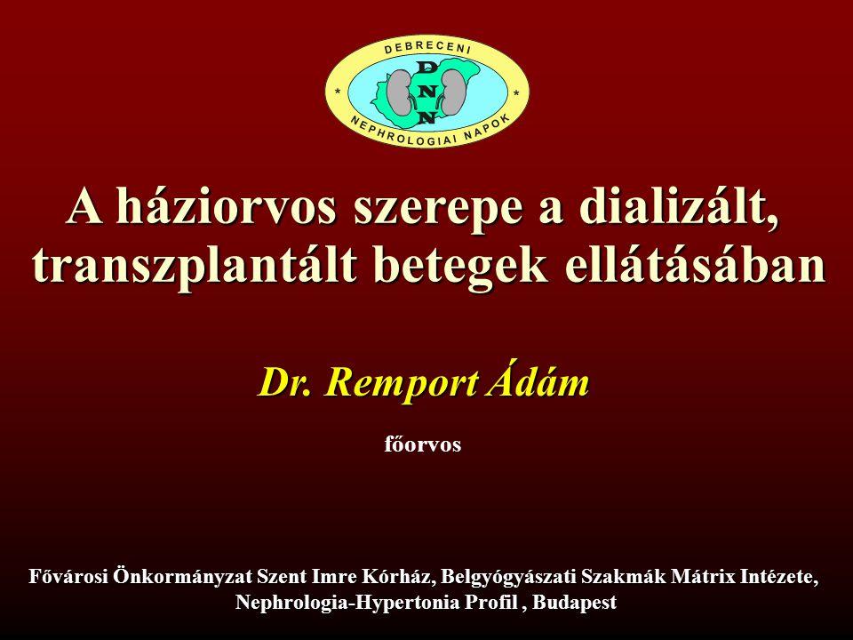 A háziorvos szerepe a dializált, transzplantált betegek ellátásában Dr.
