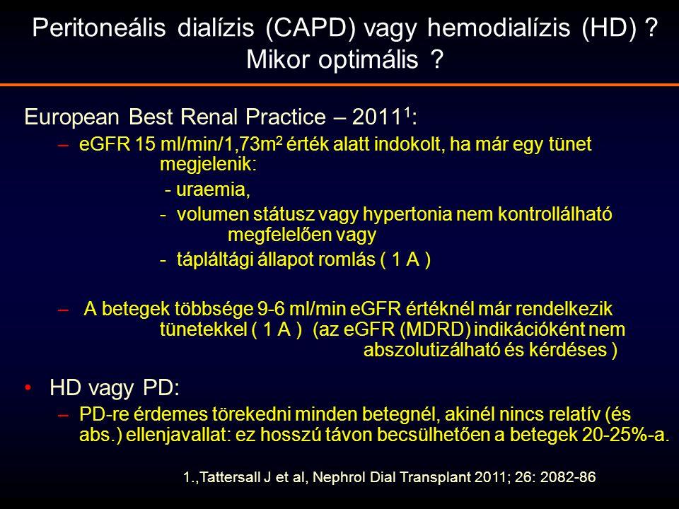 Peritoneális dialízis (CAPD) vagy hemodialízis (HD) ? Mikor optimális ? European Best Renal Practice – 2011 1 : –eGFR 15 ml/min/1,73m 2 érték alatt in