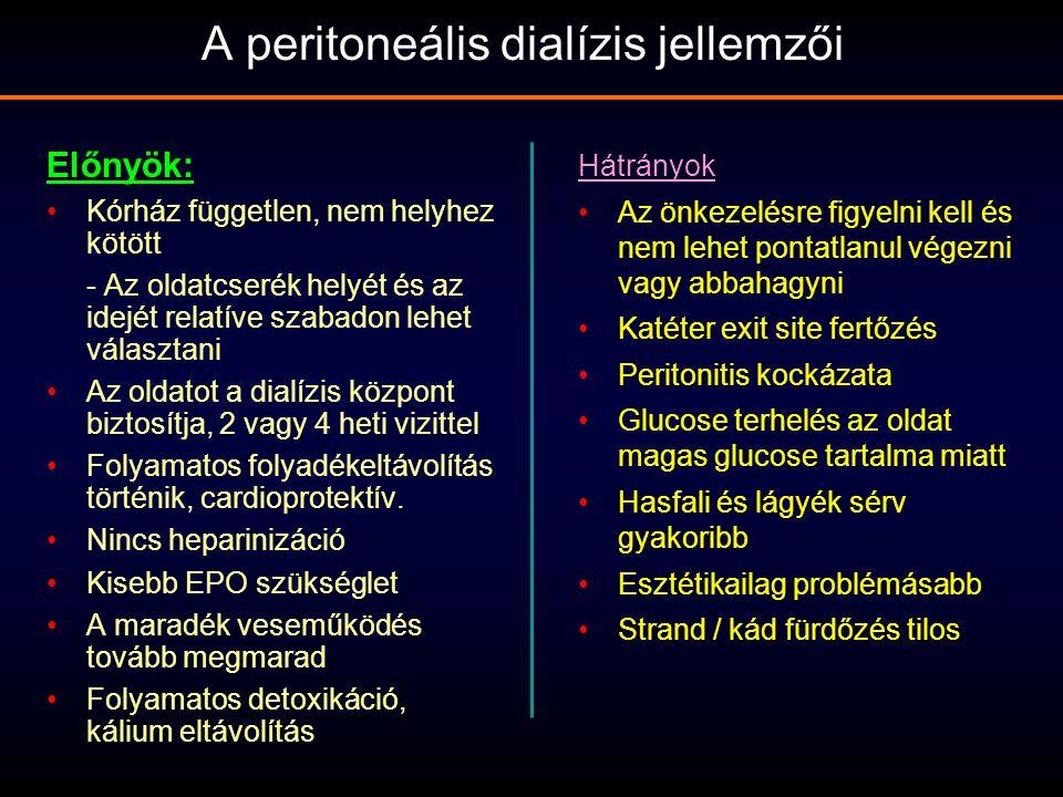 A peritoneális dialízis jellemzői Előnyök: Kórház független, nem helyhez kötött - Az oldatcserék helyét és az idejét relatíve szabadon lehet választan