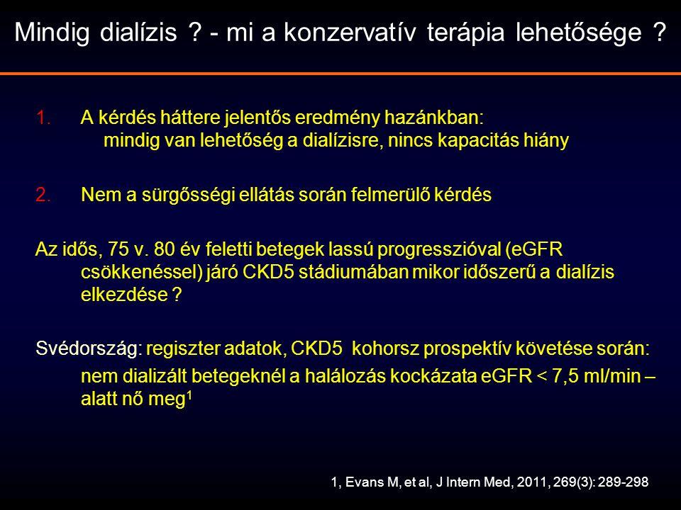 A CKD5 stádiumú krónikus veseelégtelenség kezelési lehetőségei eGFR<15ml/min CKD5 Konzervatív terápia Dialízis, PD és HD Vesetranszplantáció Alkalmas VeseTx-reNem alkalmas Tx-re