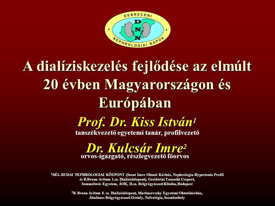 A dialíziskezelés fejlődése az elmúlt 20 évben Magyarországon és Európában tanszékvezető egyetemi tanár, profilvezető Prof. Dr. Kiss István 1 1 DÉL-BU