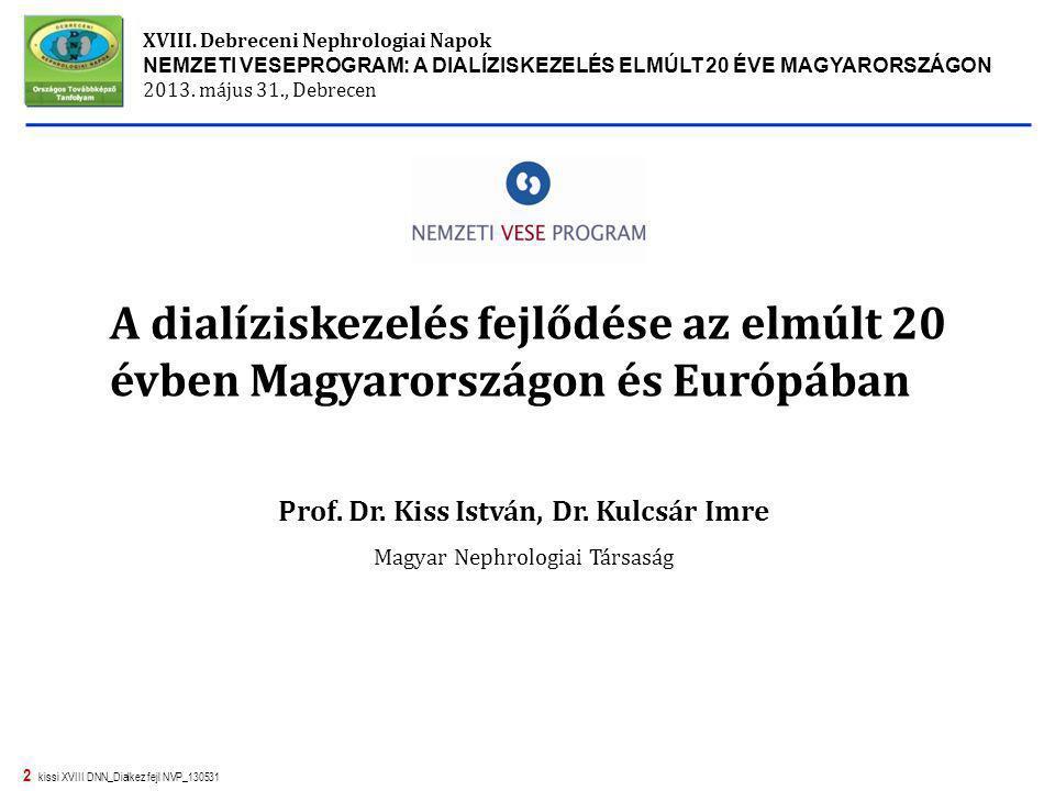 2 kissi XVIII DNN_Dialkez fejl NVP_130531 A dialíziskezelés fejlődése az elmúlt 20 évben Magyarországon és Európában XVIII. Debreceni Nephrologiai Nap