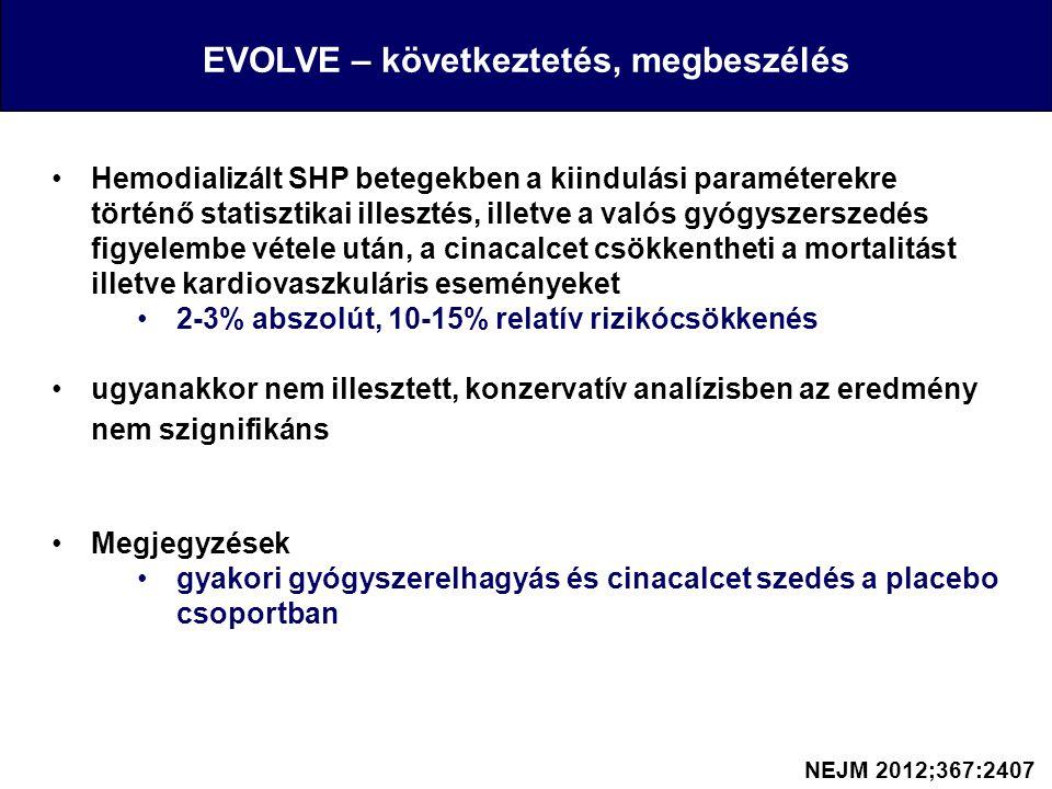 EVOLVE – következtetés, megbeszélés Hemodializált SHP betegekben a kiindulási paraméterekre történő statisztikai illesztés, illetve a valós gyógyszers
