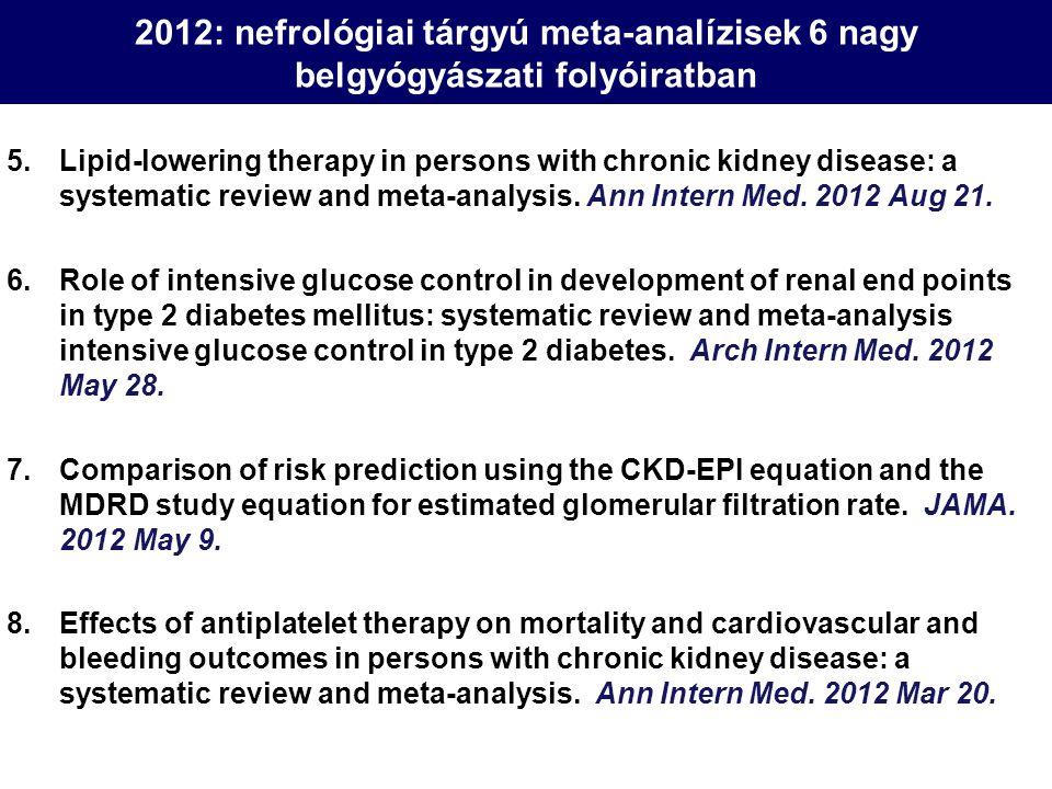 2012: nefrológiai tárgyú meta-analízisek 6 nagy belgyógyászati folyóiratban 5.Lipid-lowering therapy in persons with chronic kidney disease: a systema