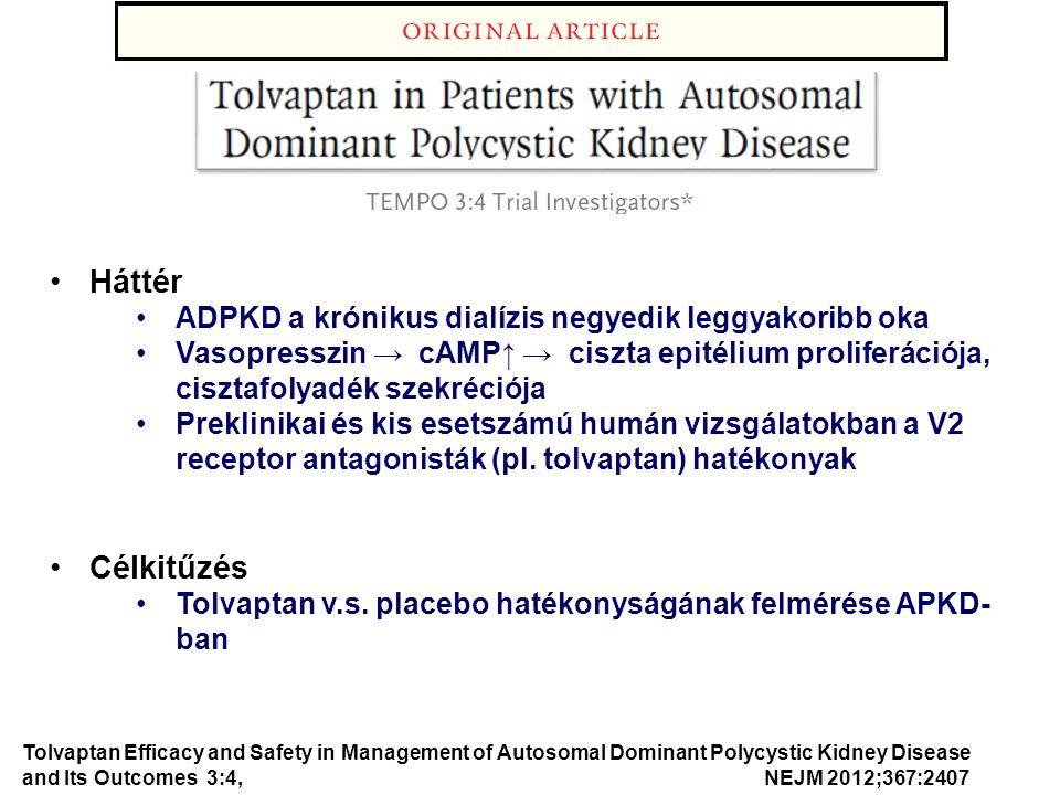 Háttér ADPKD a krónikus dialízis negyedik leggyakoribb oka Vasopresszin → cAMP↑ → ciszta epitélium proliferációja, cisztafolyadék szekréciója Preklini