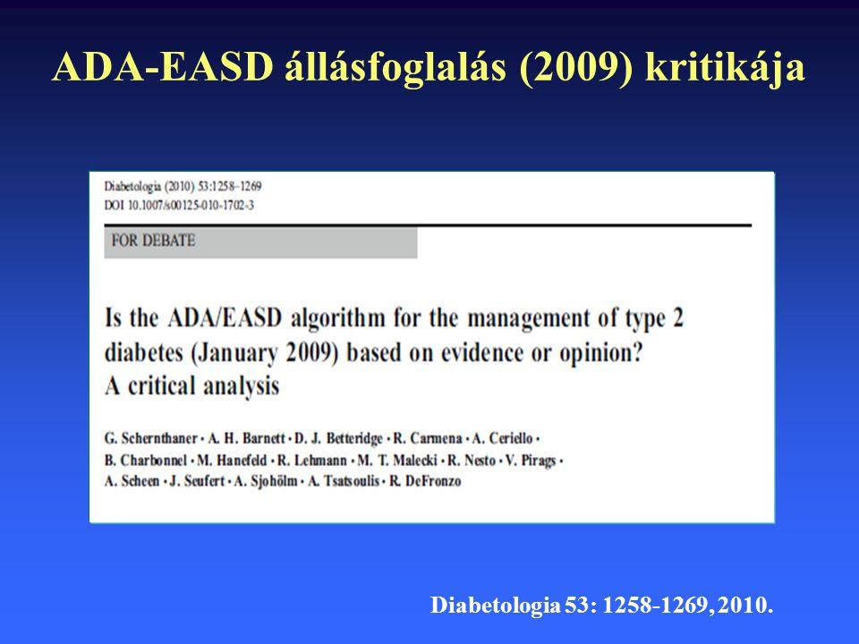 ADA-EASD állásfoglalás (2009) kritikája Diabetologia 53: 1258-1269, 2010.