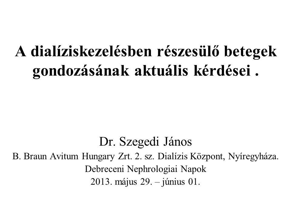 A dialíziskezelésben részesülő betegek gondozásának aktuális kérdései. Dr. Szegedi János B. Braun Avitum Hungary Zrt. 2. sz. Dialízis Központ, Nyíregy