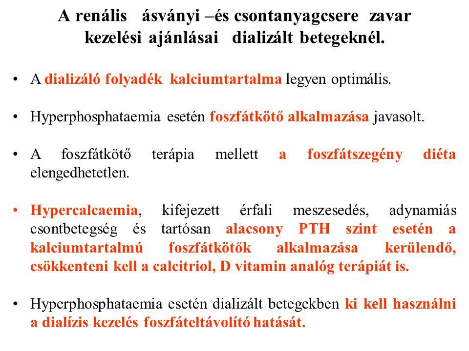 A renális ásványi –és csontanyagcsere zavar kezelési ajánlásai dializált betegeknél. A dializáló folyadék kalciumtartalma legyen optimális. Hyperphosp