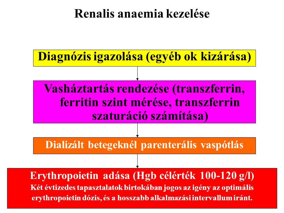 Renalis anaemia kezelése Diagnózis igazolása (egyéb ok kizárása) Vasháztartás rendezése (transzferrin, ferritin szint mérése, transzferrin szaturáció