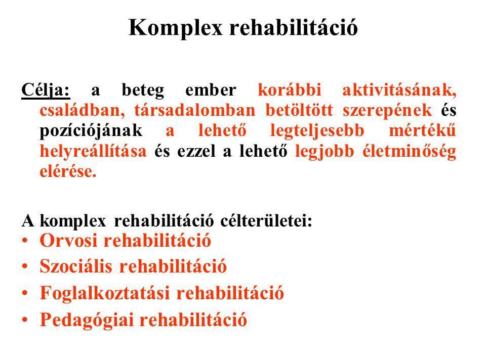 Komplex rehabilitáció Célja: a beteg ember korábbi aktivitásának, családban, társadalomban betöltött szerepének és pozíciójának a lehető legteljesebb