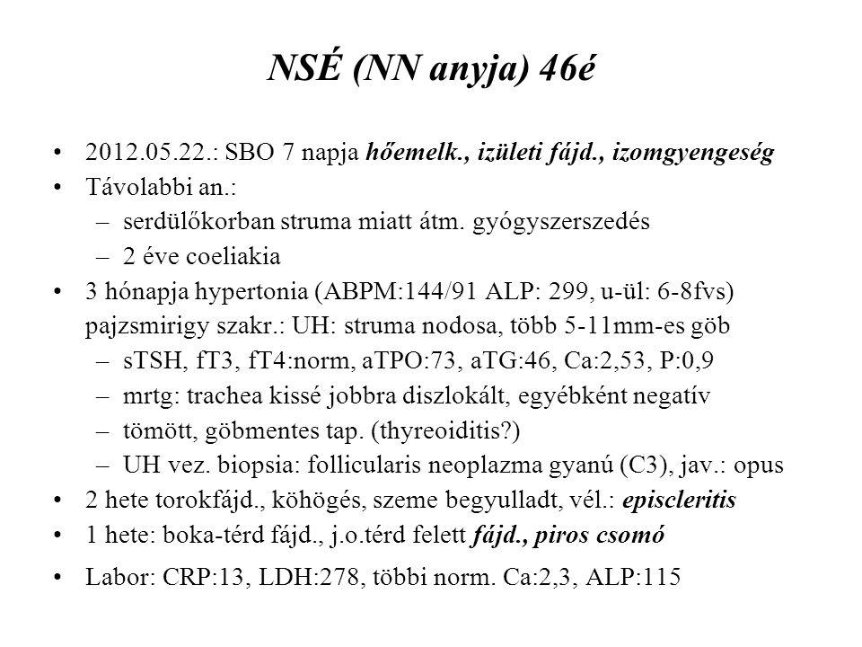 NSÉ (NN anyja) 46é 2012.05.22.: SBO 7 napja hőemelk., izületi fájd., izomgyengeség Távolabbi an.: –serdülőkorban struma miatt átm. gyógyszerszedés –2