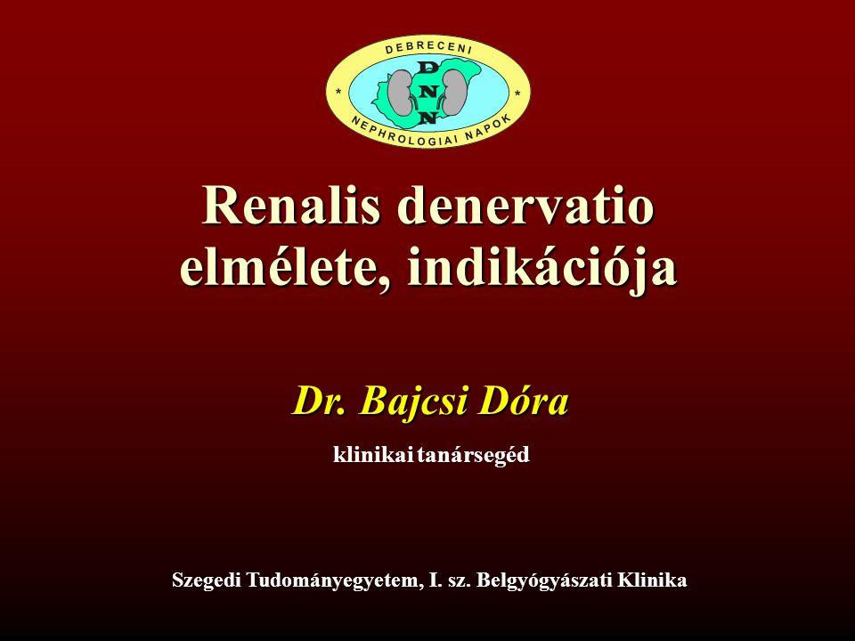 Renalis denervatio elmélete, indikációja Szegedi Tudományegyetem, I. sz. Belgyógyászati Klinika Dr. Bajcsi Dóra klinikai tanársegéd