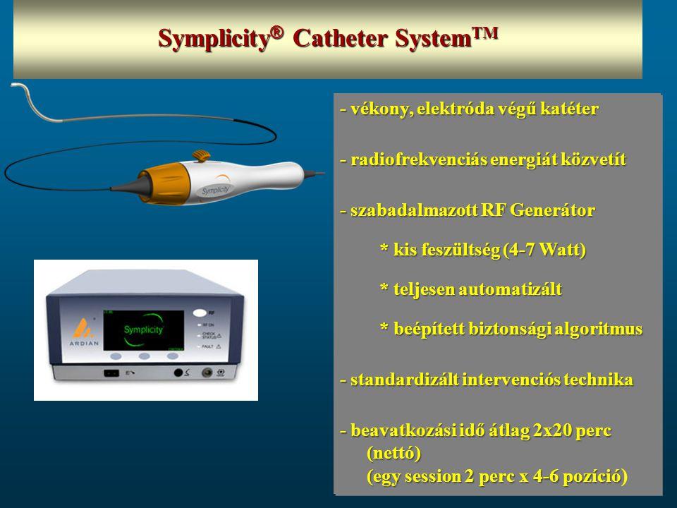 - vékony, elektróda végű katéter - radiofrekvenciás energiát közvetít - szabadalmazott RF Generátor * kis feszültség (4-7 Watt) * teljesen automatizált * beépített biztonsági algoritmus - standardizált intervenciós technika - beavatkozási idő átlag 2x20 perc (nettó) (egy session 2 perc x 4-6 pozíció - beavatkozási idő átlag 2x20 perc (nettó) (egy session 2 perc x 4-6 pozíció ) - vékony, elektróda végű katéter - radiofrekvenciás energiát közvetít - szabadalmazott RF Generátor * kis feszültség (4-7 Watt) * teljesen automatizált * beépített biztonsági algoritmus - standardizált intervenciós technika - beavatkozási idő átlag 2x20 perc (nettó) (egy session 2 perc x 4-6 pozíció - beavatkozási idő átlag 2x20 perc (nettó) (egy session 2 perc x 4-6 pozíció ) Symplicity ® Catheter System TM