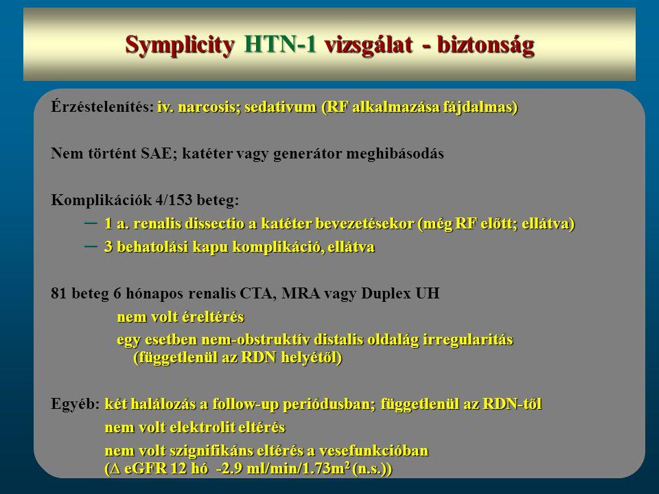 iv. narcosis; sedativum (RF alkalmazása fájdalmas) Érzéstelenítés: iv. narcosis; sedativum (RF alkalmazása fájdalmas) Nem történt SAE; katéter vagy ge