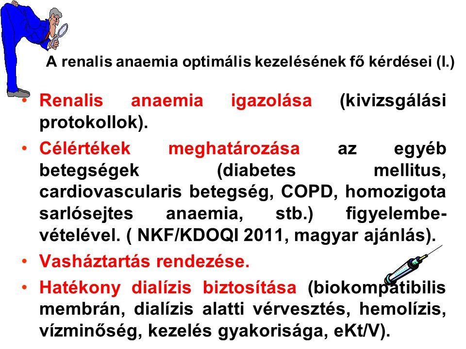 Renalis anaemia igazolása (kivizsgálási protokollok). Célértékek meghatározása az egyéb betegségek (diabetes mellitus, cardiovascularis betegség, COPD
