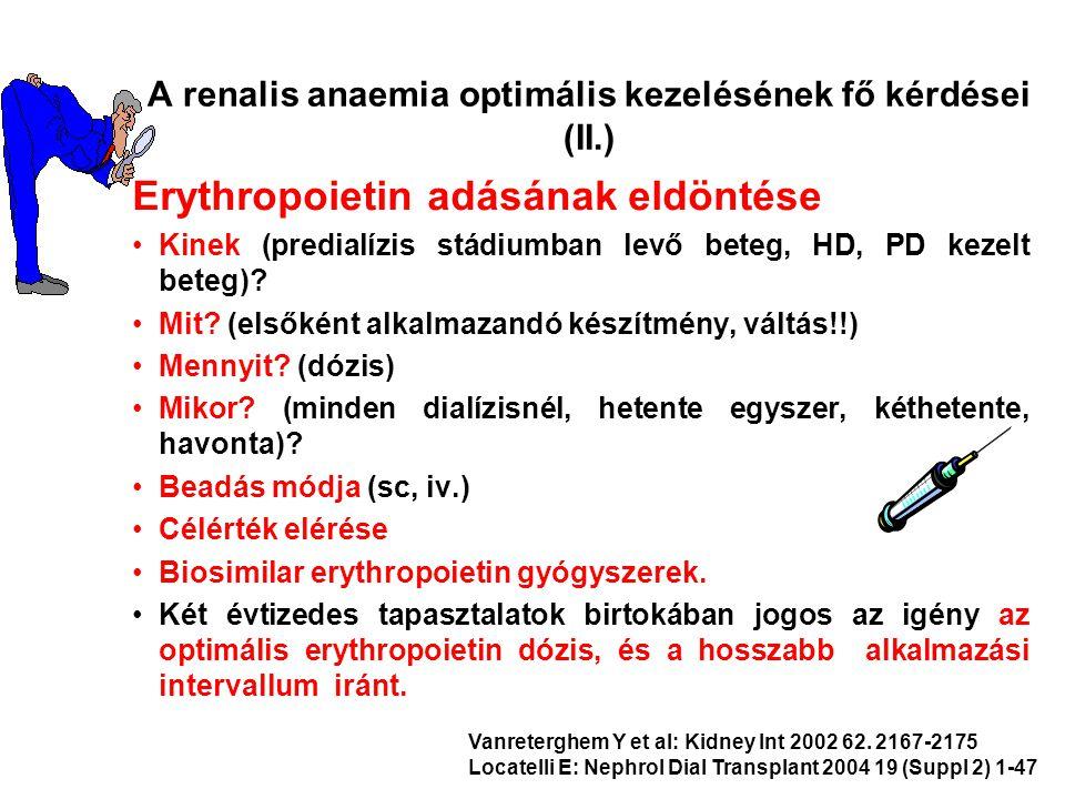 Erythropoietin adásának eldöntése Kinek (predialízis stádiumban levő beteg, HD, PD kezelt beteg)? Mit? (elsőként alkalmazandó készítmény, váltás!!) Me