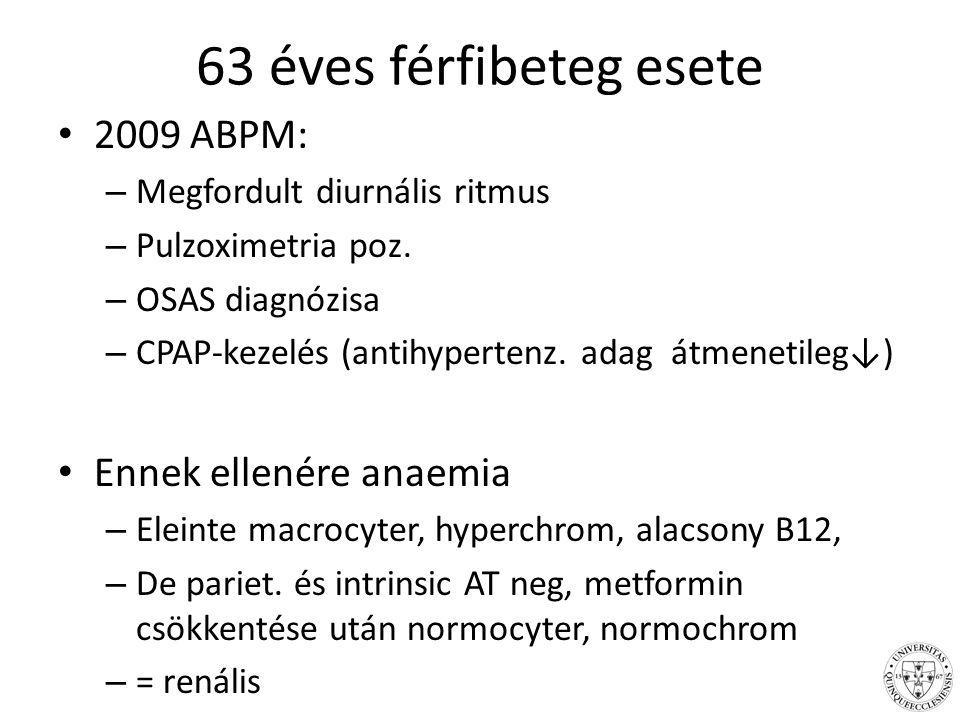 63 éves férfibeteg esete 2009 ABPM: – Megfordult diurnális ritmus – Pulzoximetria poz.