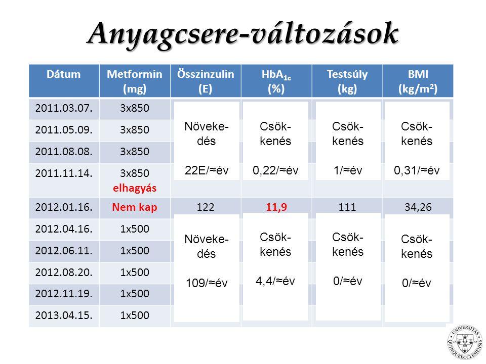 DátumMetformin (mg) Összinzulin (E) HbA 1c (%) Testsúly (kg) BMI (kg/m 2 ) 2011.03.07.3x8501007,0211234,57 2011.05.09.3x8501127,2011435,19 2011.08.08.3x8501186,3910933,64 2011.11.14.3x850 elhagyás 1226,8011134,26 2012.01.16.Nem kap12211,911134,26 2012.04.16.1x500154-11134,26 2012.06.11.1x5001709,4011033,95 2012.08.20.1x5001788,5010933,64 2012.11.19.1x5002088,2011234,57 2013.04.15.1x5002317,5011134,26 Anyagcsere-változások Növeke- dés 22E/≈év Csök- kenés 0,22/≈év Csök- kenés 1/≈év Csök- kenés 0,31/≈év Növeke- dés 109/≈év Csök- kenés 4,4/≈év Csök- kenés 0/≈év Csök- kenés 0/≈év