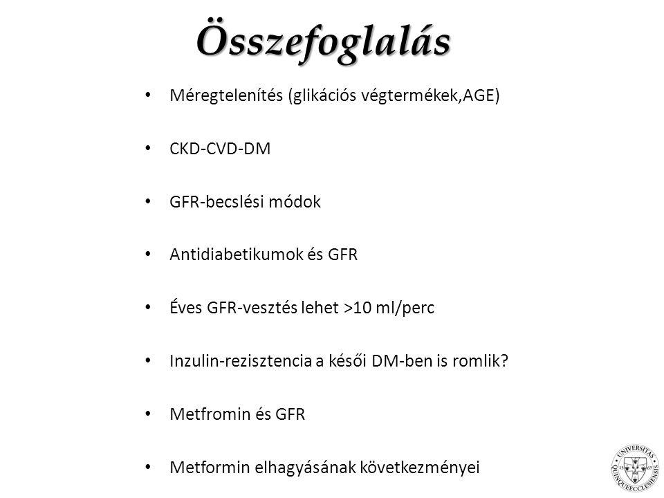Összefoglalás Méregtelenítés (glikációs végtermékek,AGE) CKD-CVD-DM GFR-becslési módok Antidiabetikumok és GFR Éves GFR-vesztés lehet >10 ml/perc Inzulin-rezisztencia a késői DM-ben is romlik.