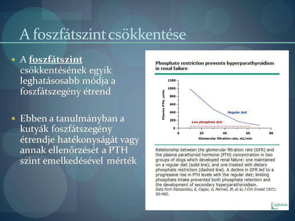 A foszfátszint csökkentése A foszfátszint csökkentésének egyik leghatásosabb módja a foszfátszegény étrend Ebben a tanulmányban a kutyák foszfátszegén
