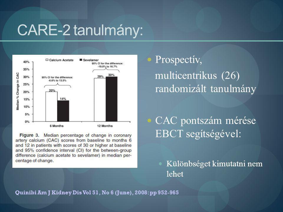 CARE-2 tanulmány: Prospectív, multicentrikus (26) randomizált tanulmány CAC pontszám mérése EBCT segítségével: Különbséget kimutatni nem lehet Quinibi