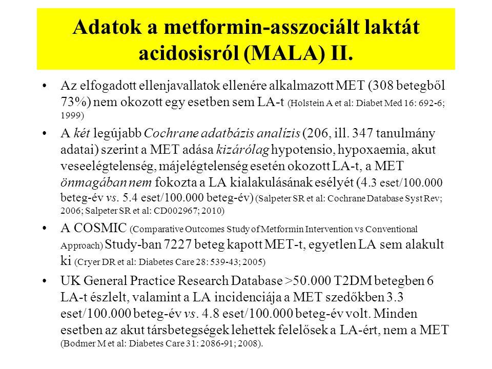 Adatok a metformin-asszociált laktát acidosisról (MALA) II. Az elfogadott ellenjavallatok ellenére alkalmazott MET (308 betegből 73%) nem okozott egy
