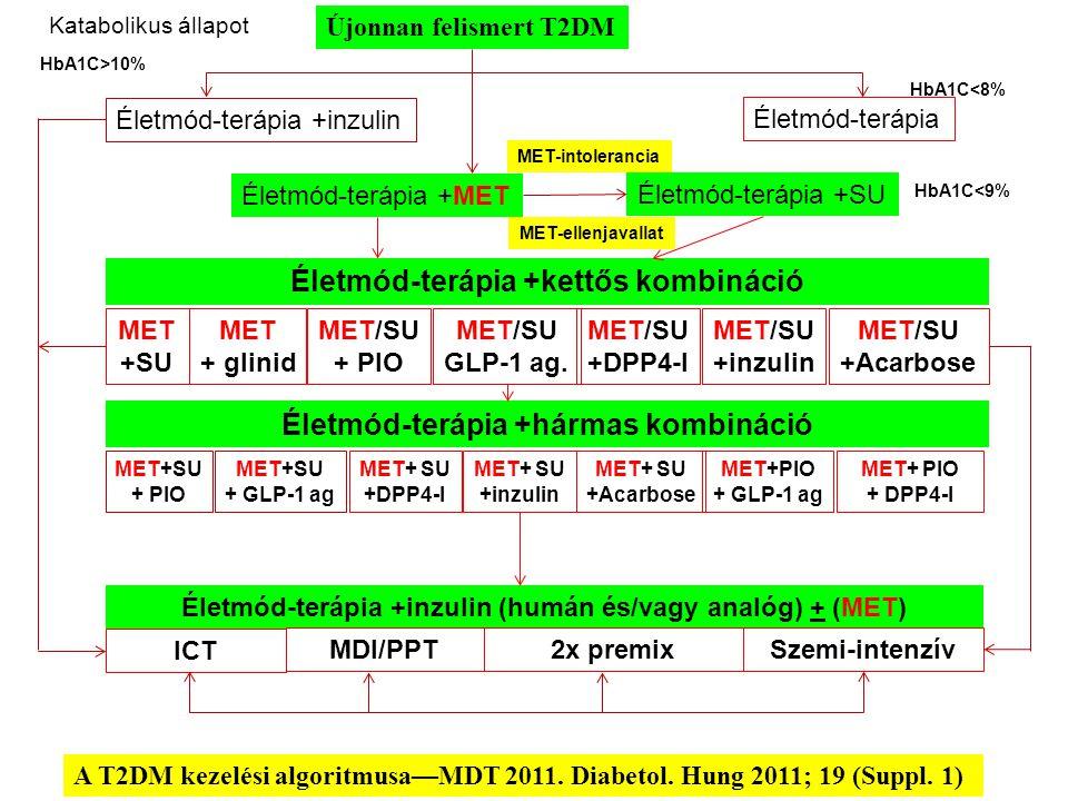 A T2DM kezelési algoritmusa—MDT 2011. Diabetol. Hung 2011; 19 (Suppl. 1) Újonnan felismert T2DM Katabolikus állapot Életmód-terápia +inzulin Életmód-t
