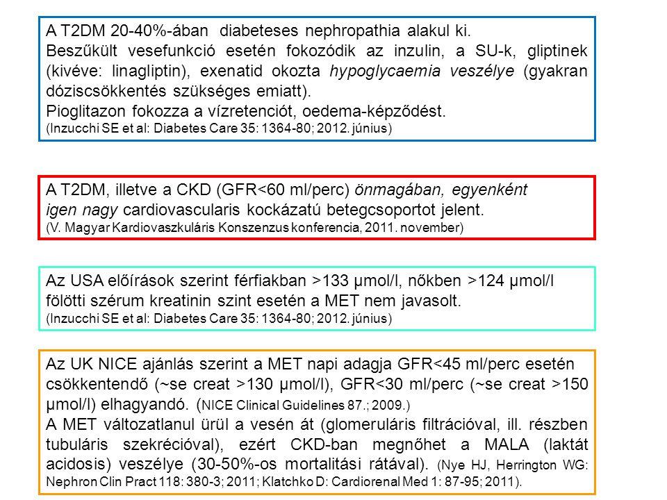 A T2DM, illetve a CKD (GFR<60 ml/perc) önmagában, egyenként igen nagy cardiovascularis kockázatú betegcsoportot jelent. (V. Magyar Kardiovaszkuláris K