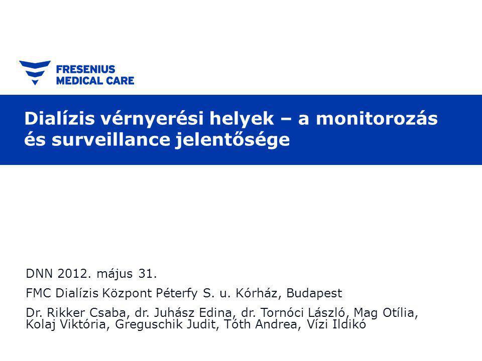 Dialízis vérnyerési helyek – a monitorozás és surveillance jelentősége DNN 2012.