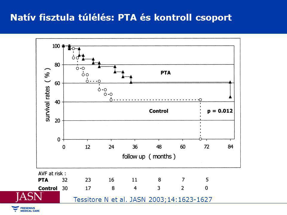 Natív fisztula túlélés: PTA és kontroll csoport Tessitore N et al. JASN 2003;14:1623-1627