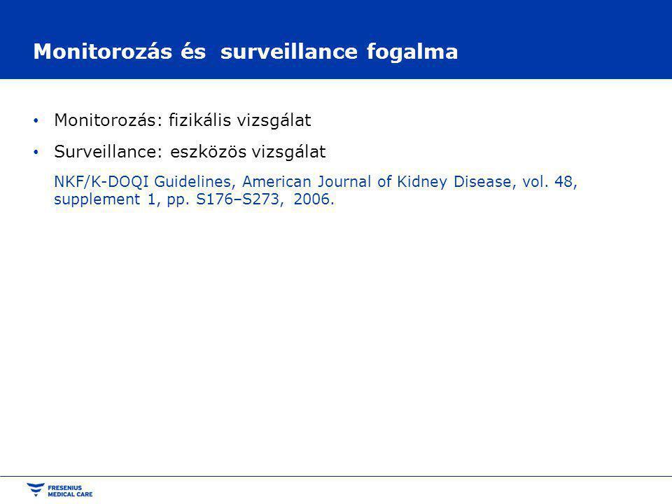 Monitorozás és surveillance fogalma Monitorozás: fizikális vizsgálat Surveillance: eszközös vizsgálat NKF/K-DOQI Guidelines, American Journal of Kidney Disease, vol.