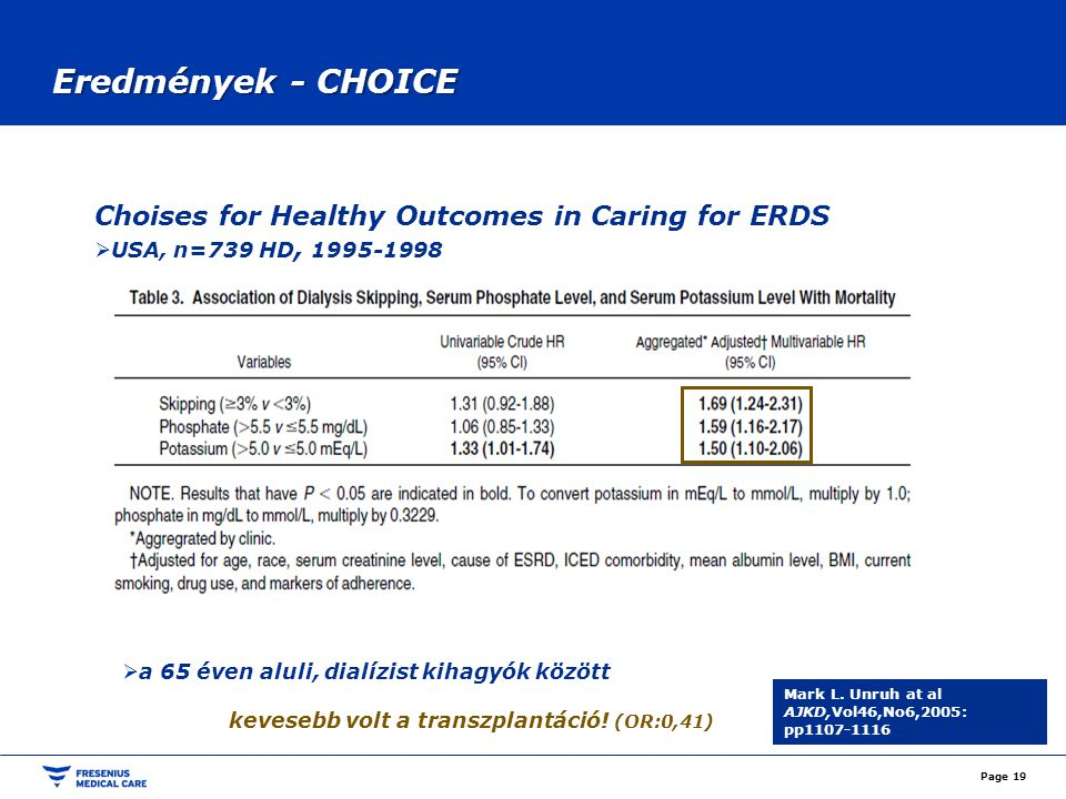 Eredmények - CHOICE Page 19 Choises for Healthy Outcomes in Caring for ERDS  USA, n=739 HD, 1995-1998 Mark L. Unruh at al AJKD,Vol46,No6,2005: pp1107