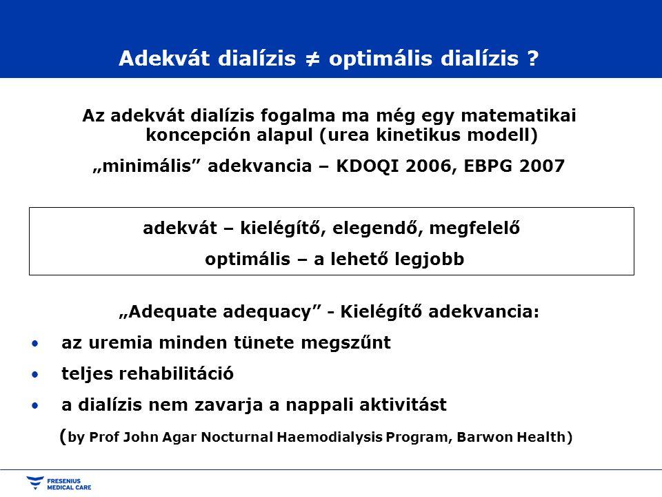"""Adekvát dialízis ≠ optimális dialízis ? Az adekvát dialízis fogalma ma még egy matematikai koncepción alapul (urea kinetikus modell) """"minimális"""" adekv"""