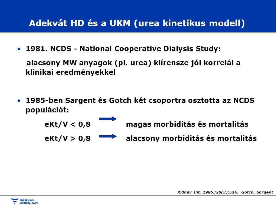 Adekvát HD és a UKM (urea kinetikus modell) 1981. NCDS - National Cooperative Dialysis Study: alacsony MW anyagok (pl. urea) klírensze jól korrelál a