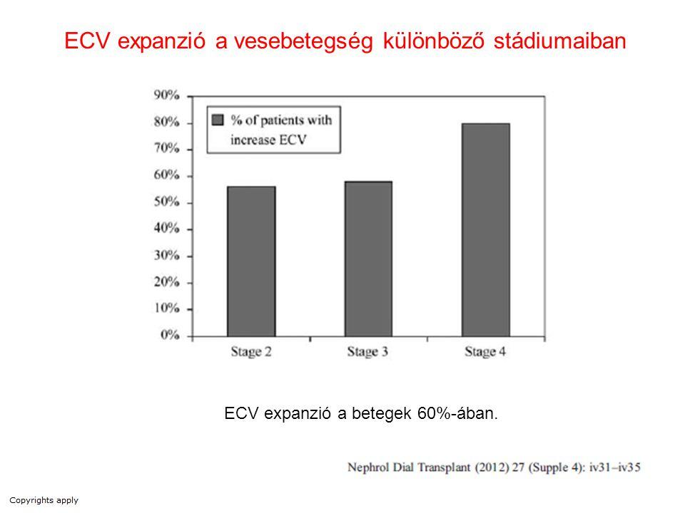 ECV expanzió a betegek 60%-ában. ECV expanzió a vesebetegség különböző stádiumaiban