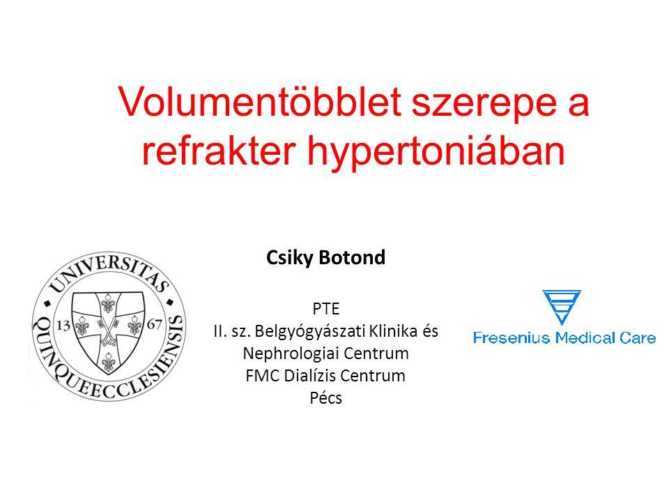 Volumentöbblet szerepe a refrakter hypertoniában Csiky Botond PTE II. sz. Belgyógyászati Klinika és Nephrologiai Centrum FMC Dialízis Centrum Pécs