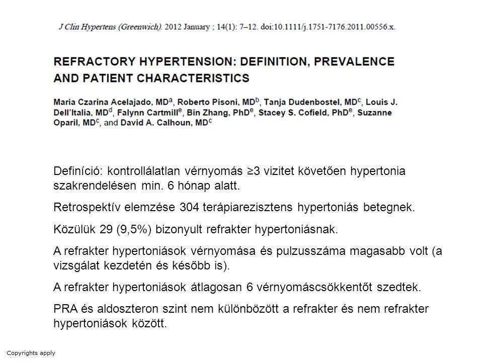 Definíció: kontrollálatlan vérnyomás ≥3 vizitet követően hypertonia szakrendelésen min. 6 hónap alatt. Retrospektív elemzése 304 terápiarezisztens hyp