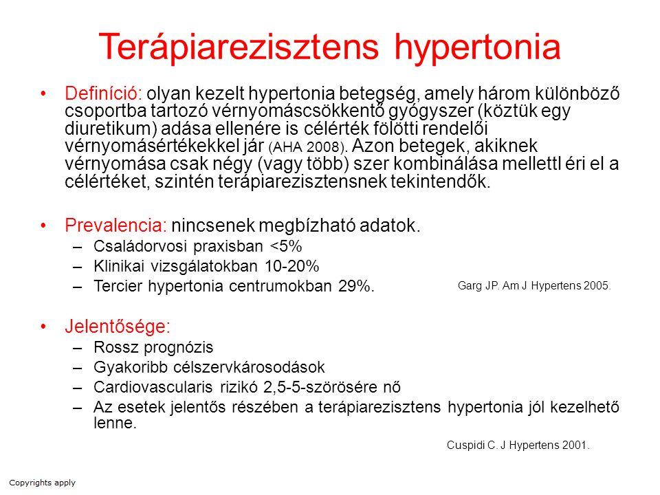 Terápiarezisztens hypertonia Definíció: olyan kezelt hypertonia betegség, amely három különböző csoportba tartozó vérnyomáscsökkentő gyógyszer (köztük