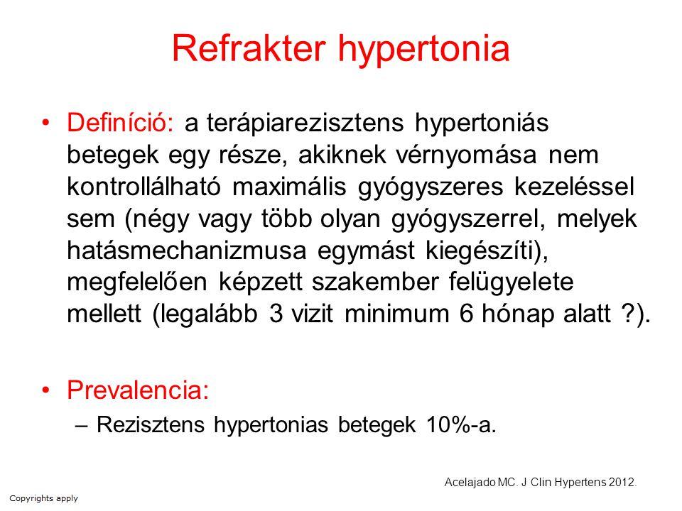 """A vérnyomáscsökkentő kezelés hatástalanságának okai Pszeudorezisztencia –kis mandzsetta –""""fehérköpeny hatás –pihenés elmulasztása –beteg együttműködésének hiánya Terápiás adherencia hiánya –vérnyomáscsökkentők mellékhatása/ára –nehézkes adagolási séma –nem megfelelő orvosi felügyelet –feledékenység Gyógyszerekkel összefüggő okok –túl alacsony dózis –nem megfelelő kombináció –rövid hatástartam –gyógyszer interakciók NSAIDS szimpatomimetikumok –orrcseppben –étvágycsökkentők, fogyasztók –koffein –kokain/utcai drogok fogamzásgátlók steroidok licorice ciklosporin, tacrolimus erythropoietin Kísérő betegségek és állapotok –dohányzás –obezitás –alvási apnoe –inzulin rezisztencia / hyperinzulinémia –túlzott alkoholbevitel (> napi 2 ital vagy """"binge drinking ) –szorongás indukálta hyperventillatio vagy pánikroham –krónikus fájdalom Szekunder hypertoniák Hypervolaemia Kaplan's Clinical Hypertension, 2010."""