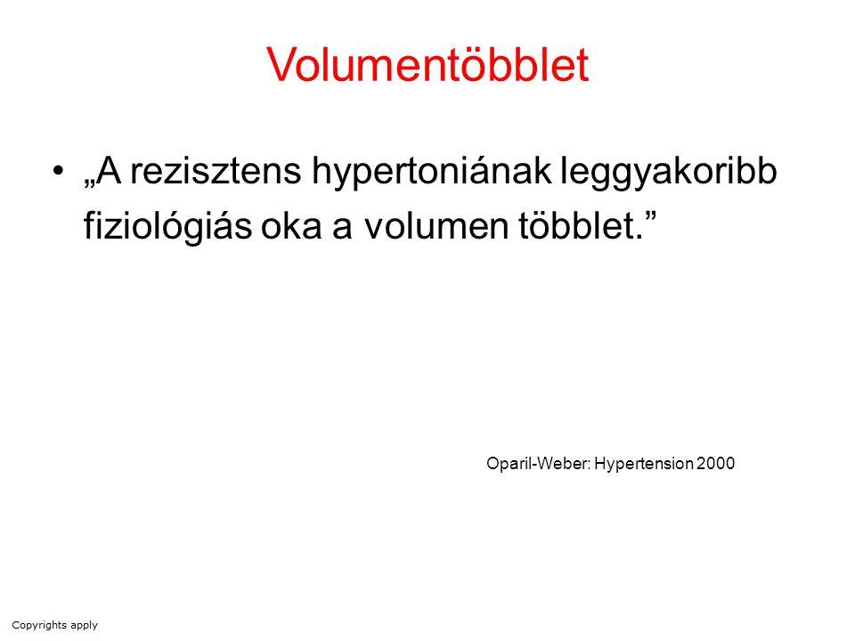 """Volumentöbblet """"A rezisztens hypertoniának leggyakoribb fiziológiás oka a volumen többlet."""" Oparil-Weber: Hypertension 2000"""
