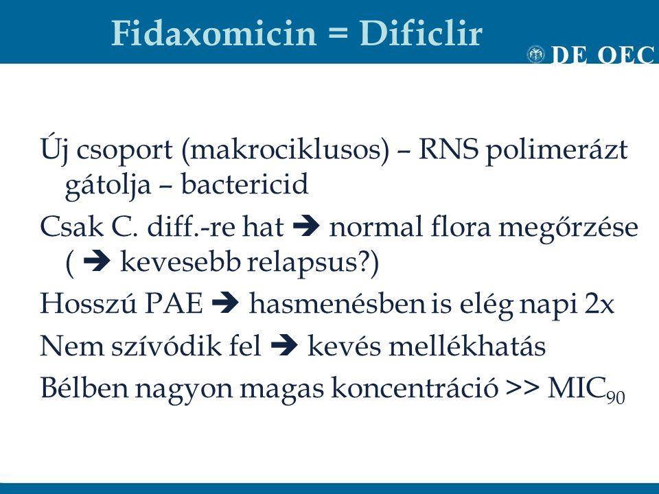Fidaxomicin = Dificlir Új csoport (makrociklusos) – RNS polimerázt gátolja – bactericid Csak C. diff.-re hat  normal flora megőrzése (  kevesebb rel