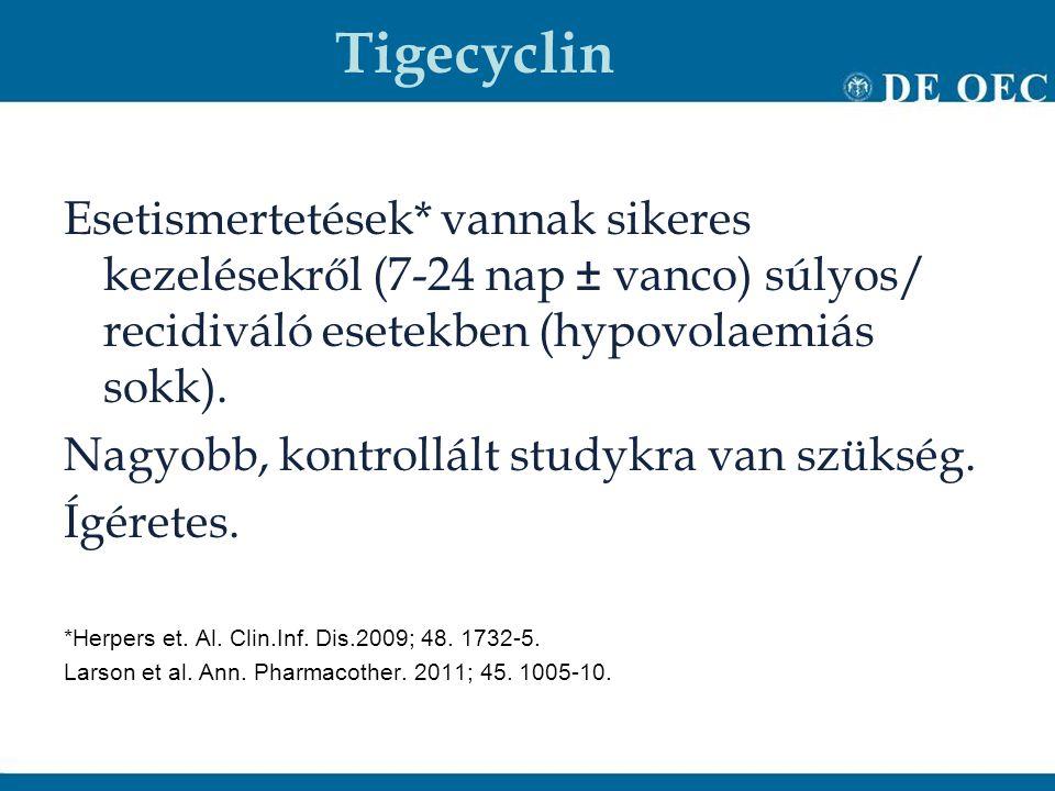 Tigecyclin Esetismertetések* vannak sikeres kezelésekről (7-24 nap ± vanco) súlyos/ recidiváló esetekben (hypovolaemiás sokk). Nagyobb, kontrollált st